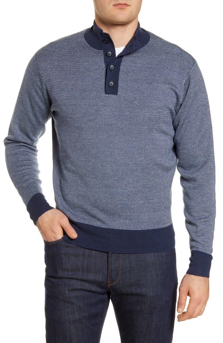 PETER MILLAR Henley Mock Neck Wool & Linen Sweater, Main, color, NAVY