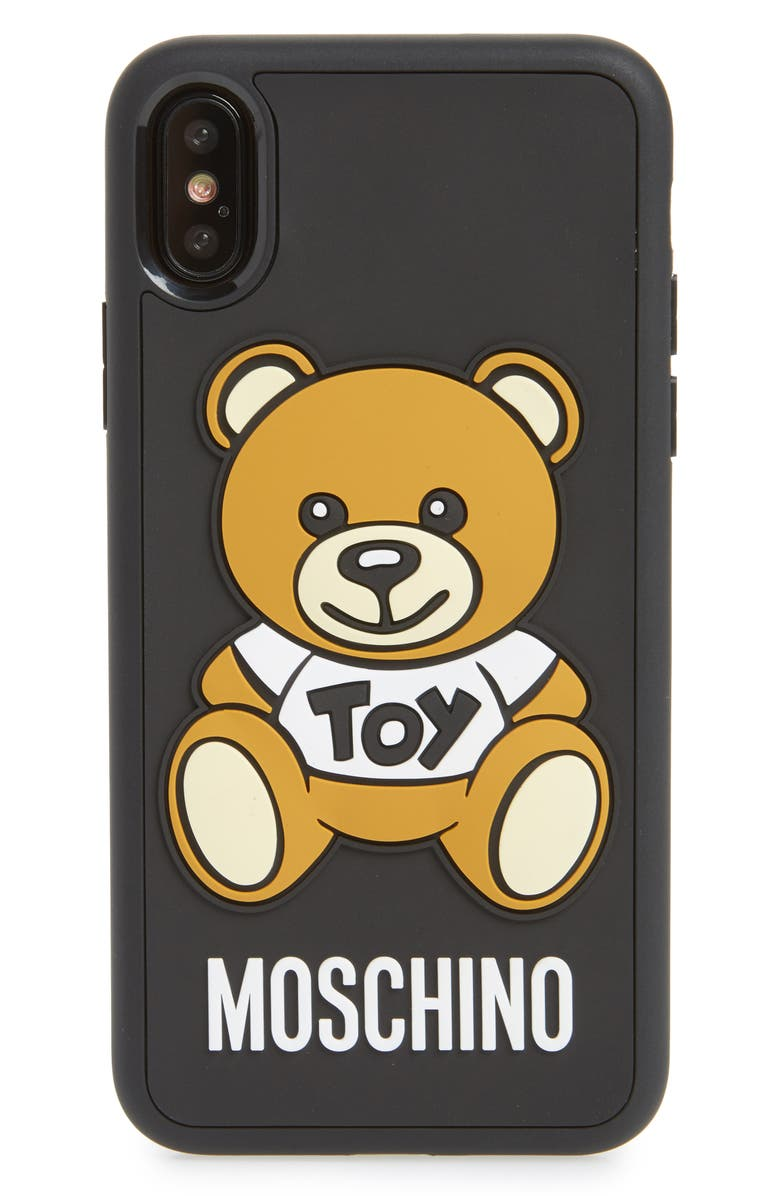 MOSCHINO Bear iPhone X Case, Main, color, BLACK