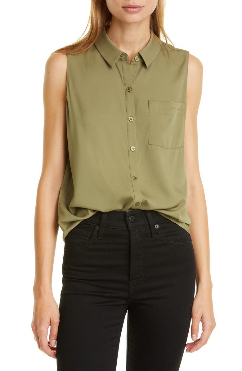 NORDSTROM SIGNATURE Sleeveless Stretch Silk Shirt, Main, color, OLIVE DUSK