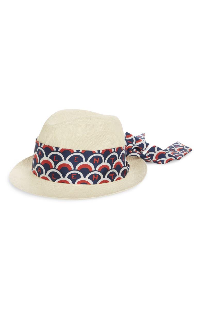 VALENTINO Logo Scarf Straw Hat, Main, color, 400
