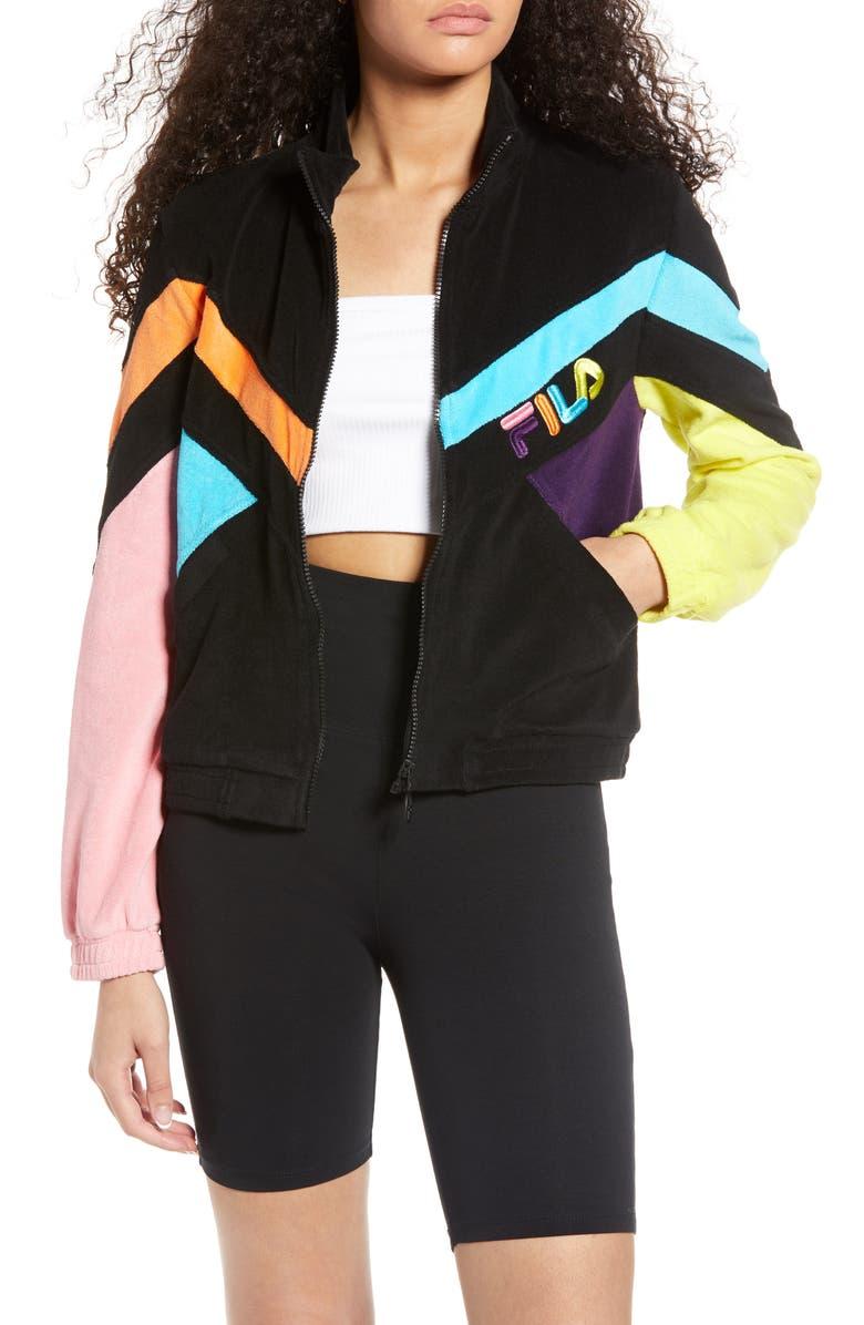 FILA Hadley Colorblock Velour Crop Jacket, Main, color, BLACK/ BBTN/ CORG