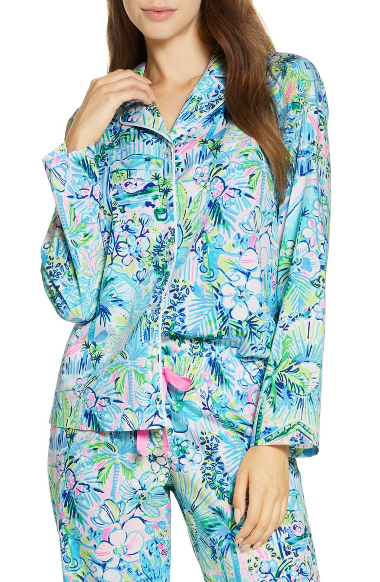 LILLY PULITZER<SUP>®</SUP> Woven Pajama Top, Main, color, MULTI LILLYS HOUSE