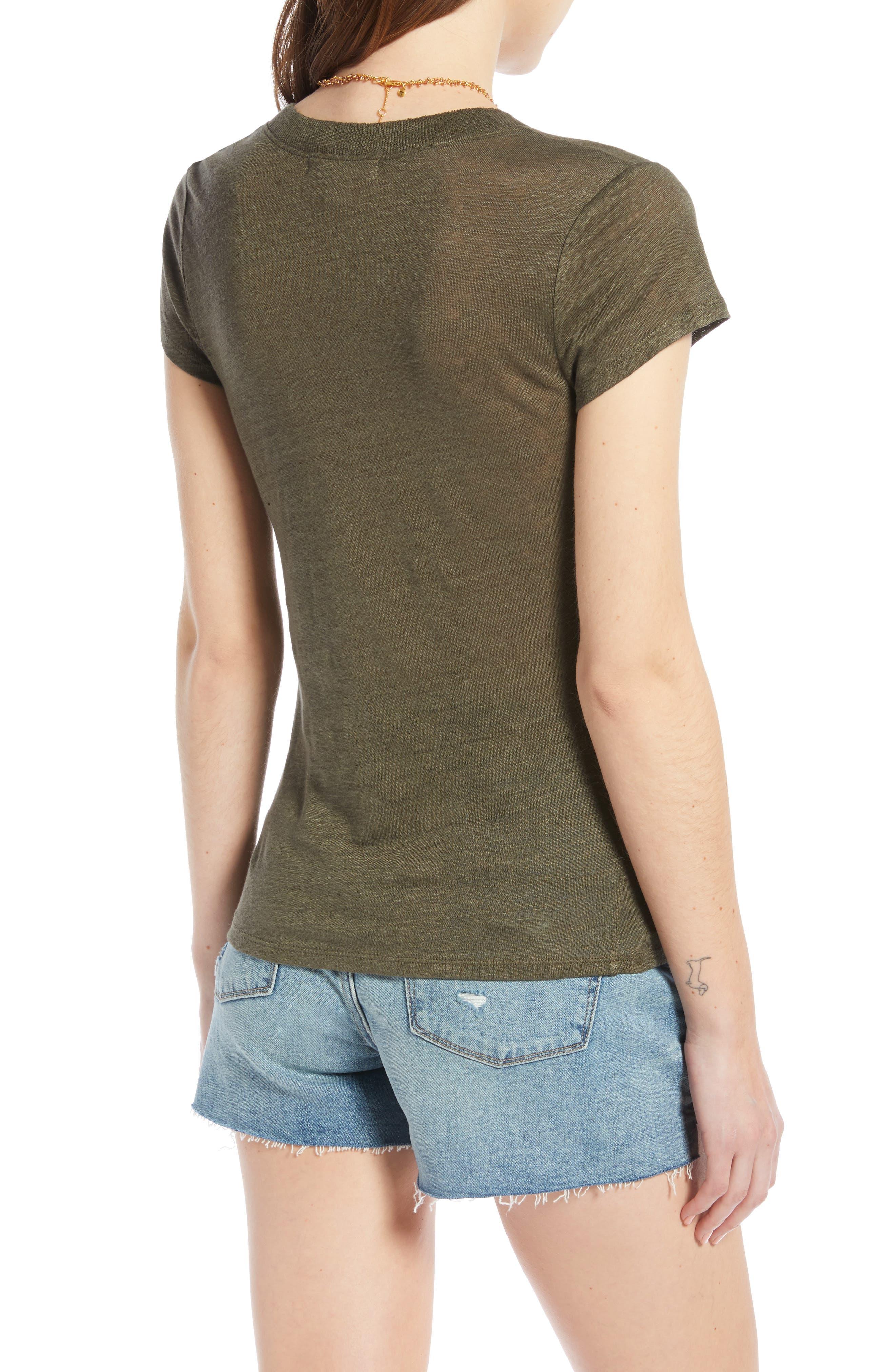 ,                             Cap Sleeve V-Neck Linen Tee,                             Alternate thumbnail 2, color,                             OLIVE SARMA