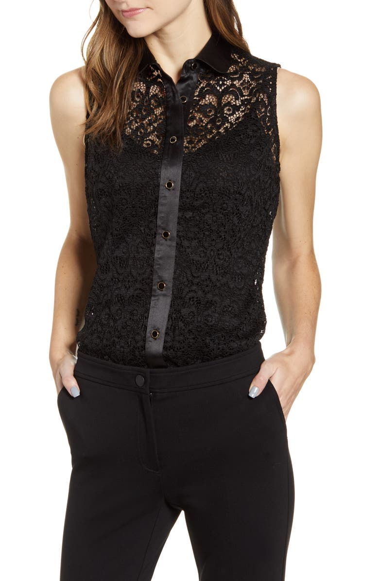 ANNE KLEIN Corded Lace Top, Main, color, ANNE BLACK