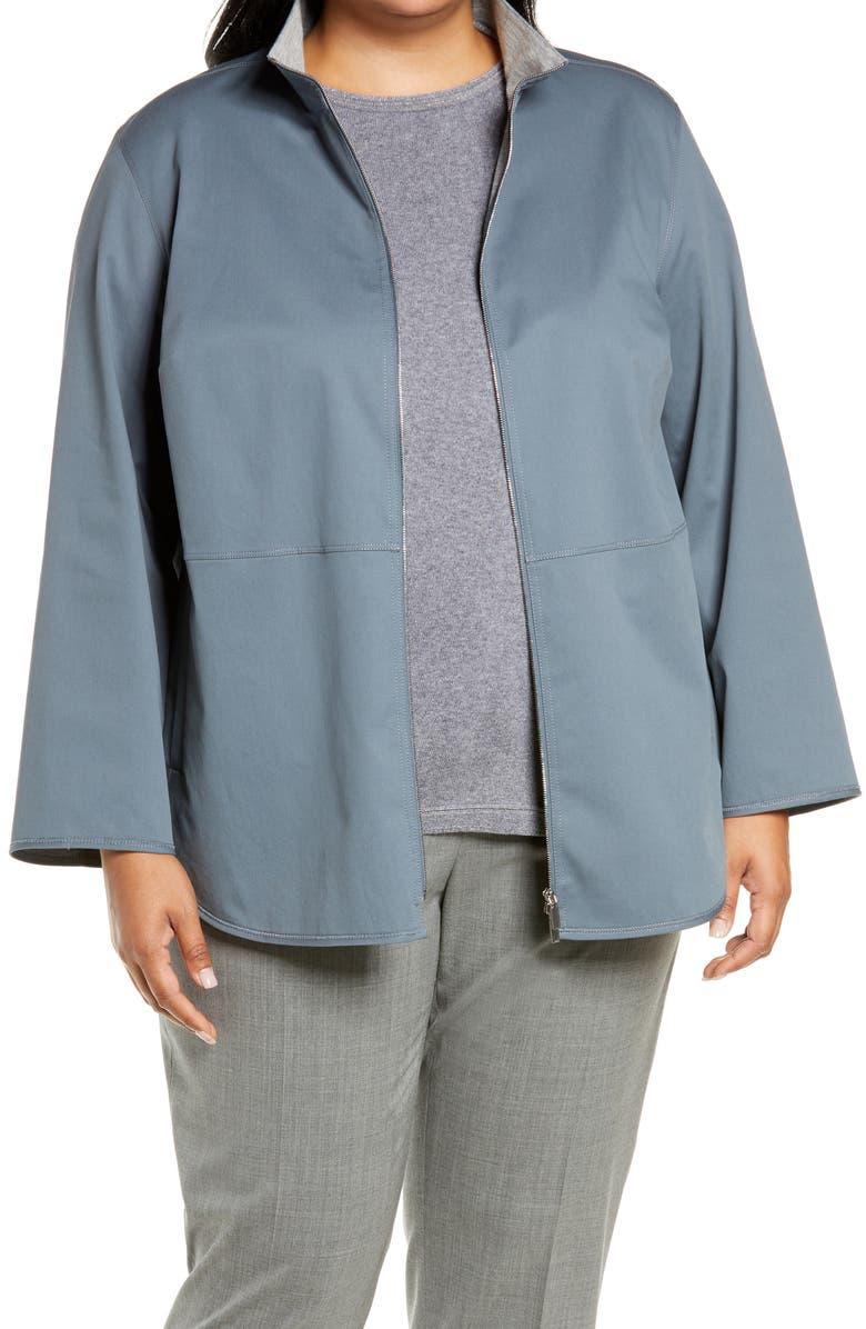 LAFAYETTE 148 NEW YORK Ansel Stretch Cotton Jacket, Main, color, OCEANA