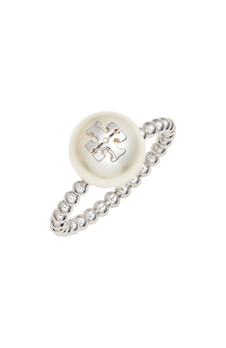 TORY BURCH Logo Imitation Pearl Milgrain Ring, Main, color, 710