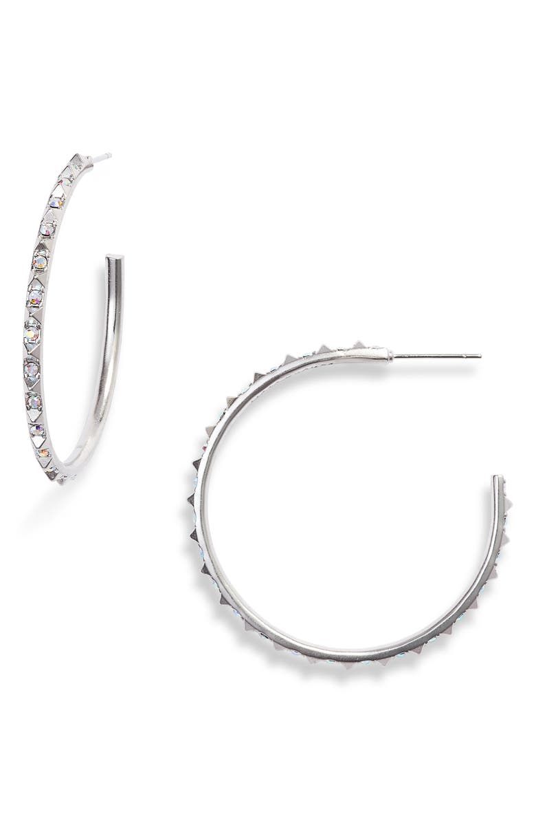 KENDRA SCOTT Veronica Hoop Earrings, Main, color, IRIDESCENT CRYSTAL/ SILVER