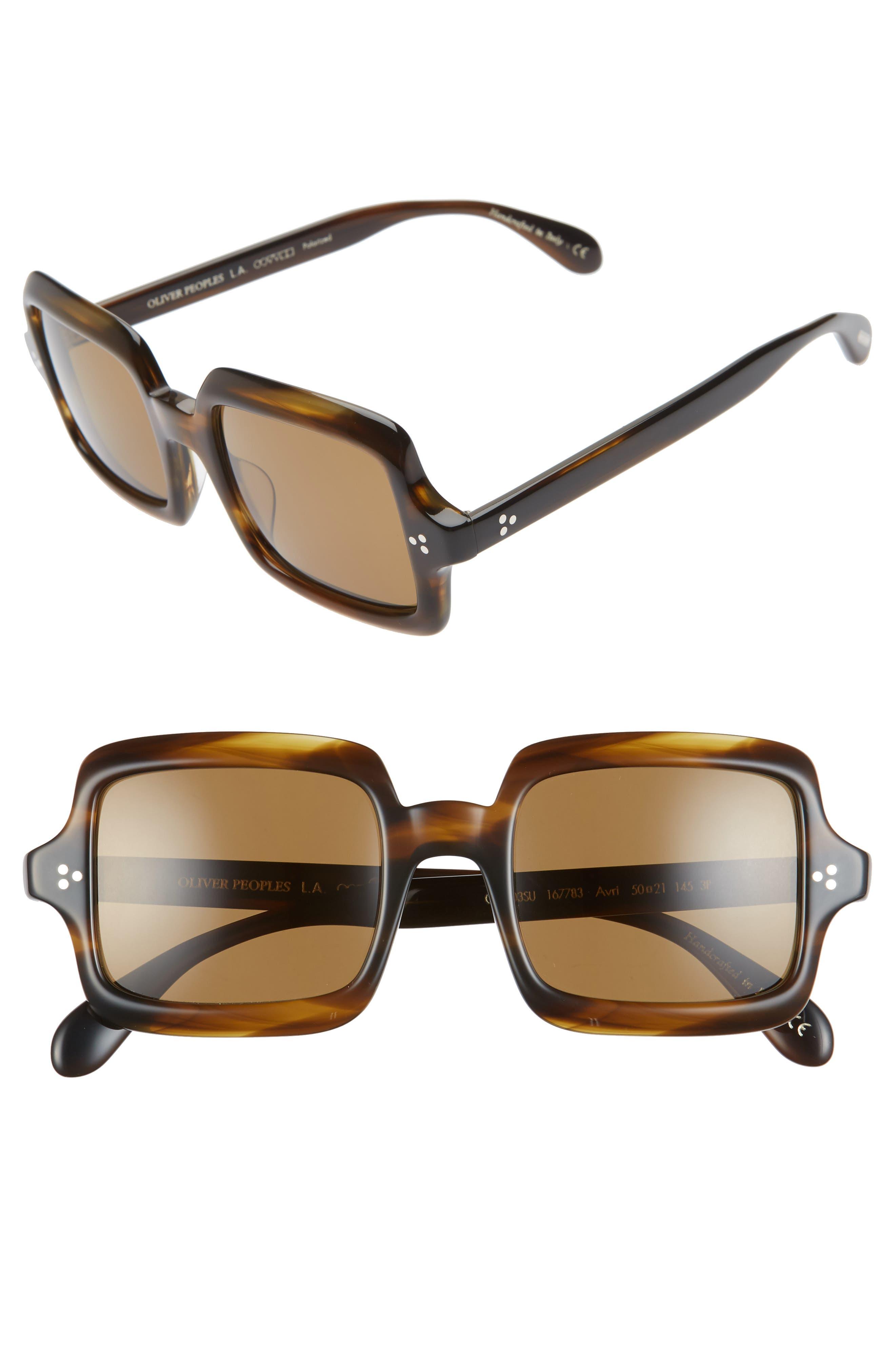 Oliver Peoples Avri 50Mm Square Sunglasses - Bark/ Brown