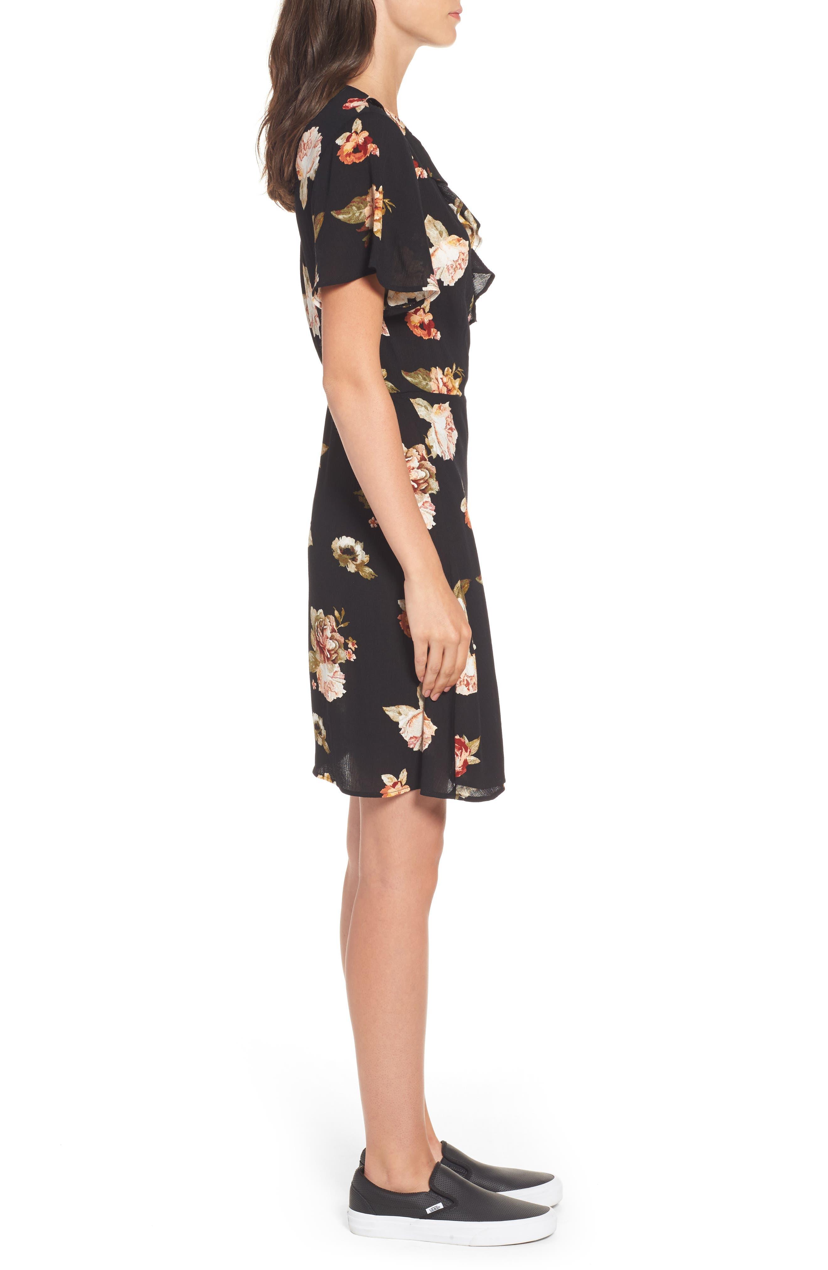 ,                             Floral Gauze Wrap Dress,                             Alternate thumbnail 3, color,                             001
