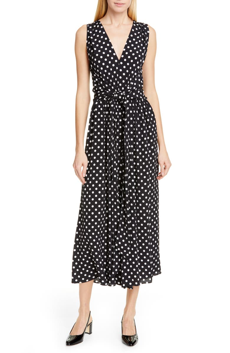 KATE SPADE NEW YORK lia dot jumpsuit, Main, color, BLACK/ FRENCH CREAM