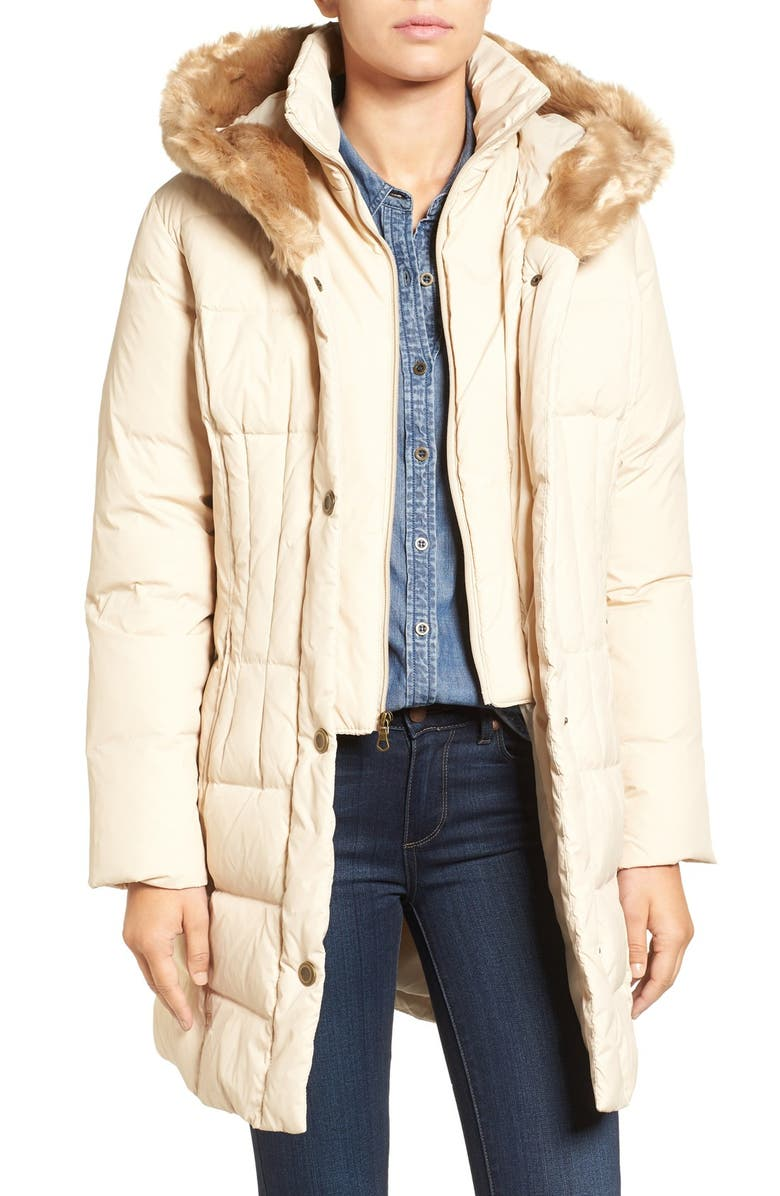 LARRY LEVINE Quilted Down & Feather Fill Coat with Faux Fur Trim Hood, Main, color, 297