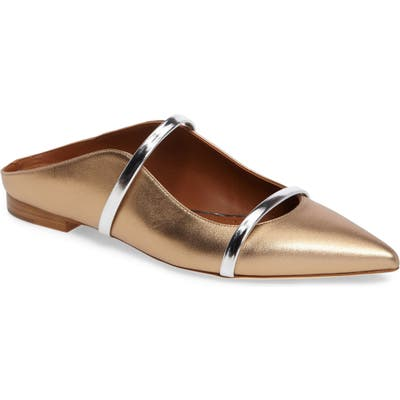 Malone Souliers Maureen Pointy Toe Flat, Metallic
