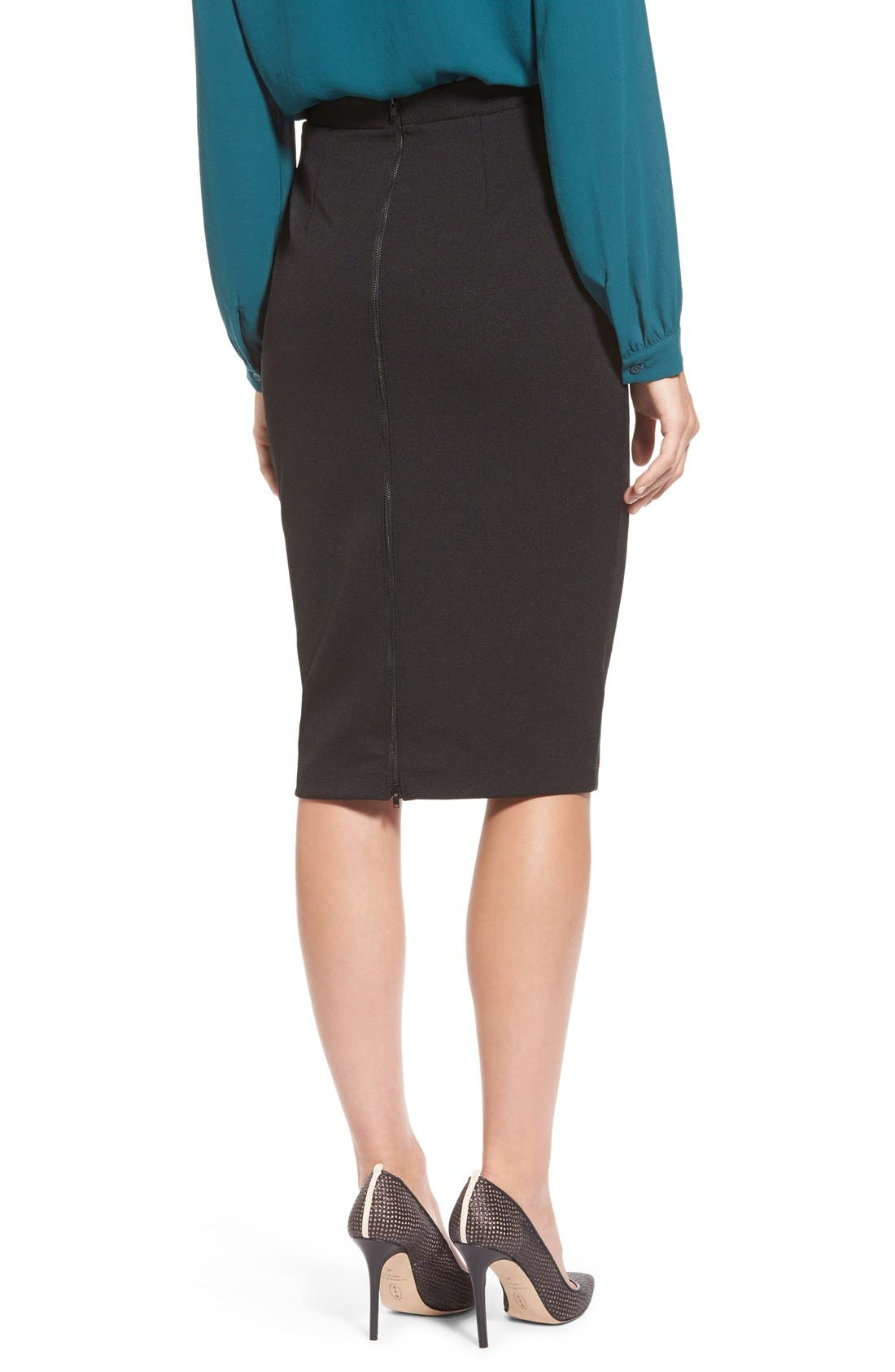 ,                             Zip Back Knit Pencil Skirt,                             Alternate thumbnail 3, color,                             001