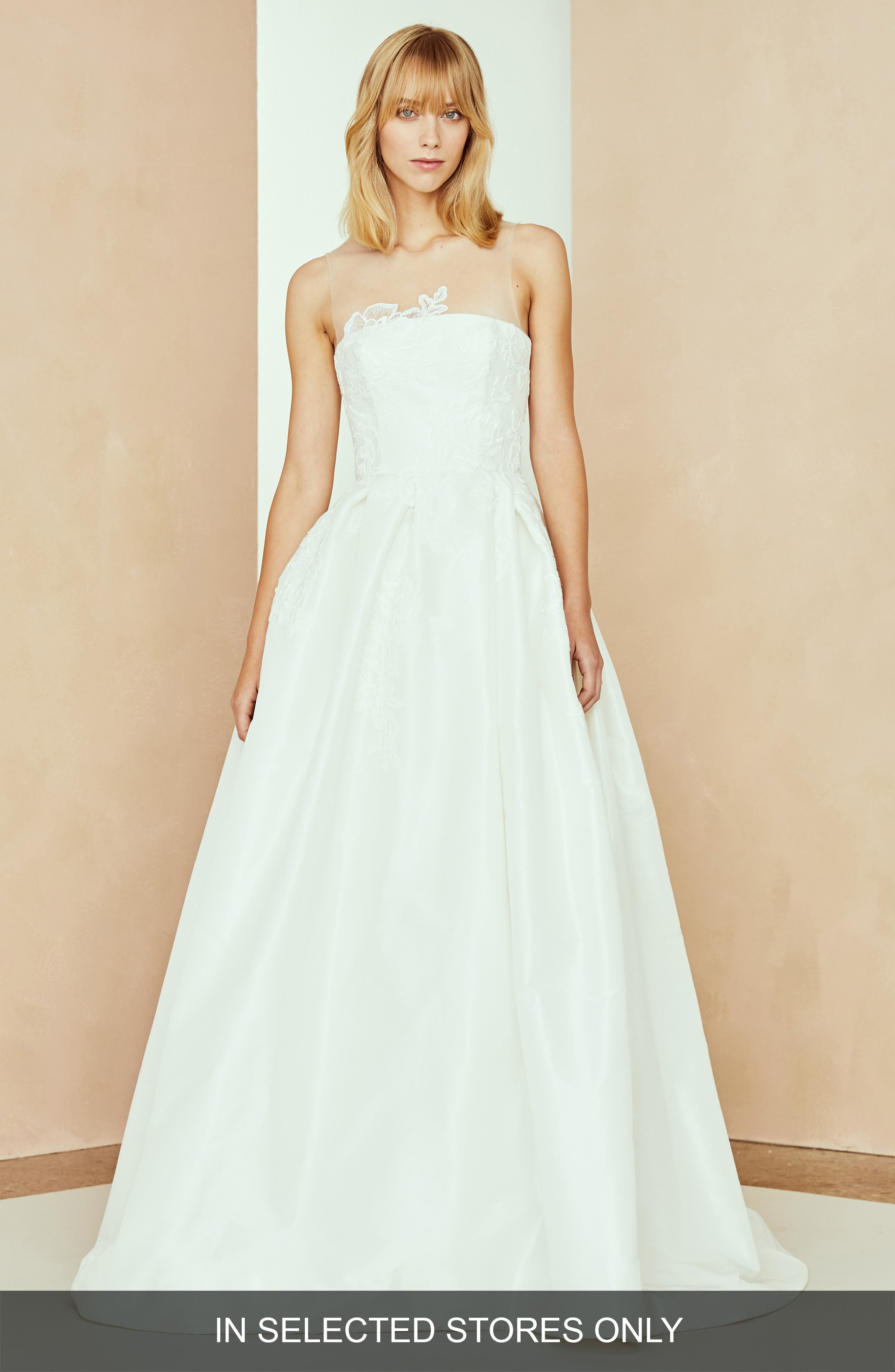 Nouvelle Amsale Bennet Taffeta & Lace Ballgown, Size IN STORE ONLY - Ivory