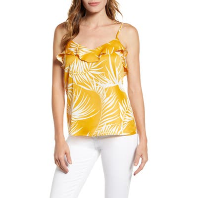 Gibson X Hot Summer Nights Two Peas Ruffle Detail Satin Camisole, Yellow (Nordstrom Exclusive)