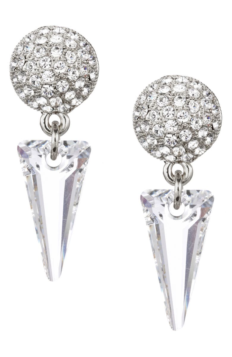 NINA Swarovski Crystal Spike Drop Earrings, Main, color, RHODIUM/ WHITE