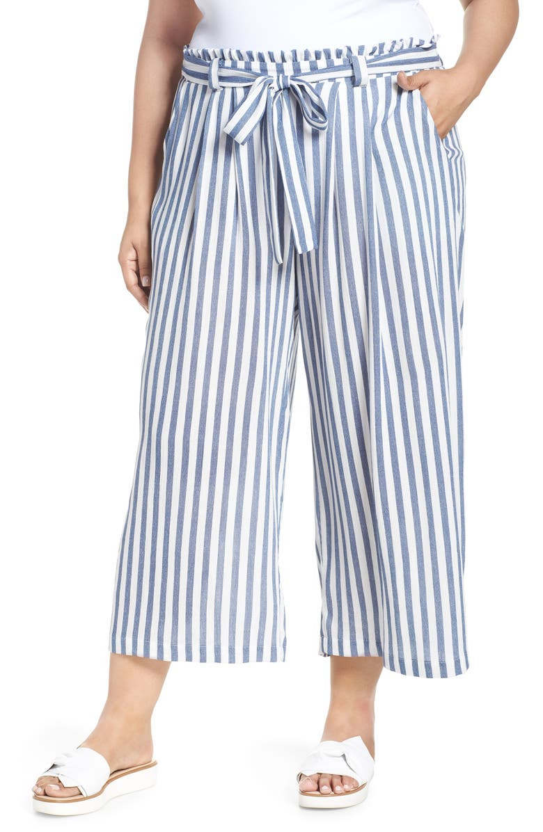 GIBSON x Hi Sugarplum! Sedona Wide Leg Ankle Pants, Main, color, CHAMBRAY STRIPE