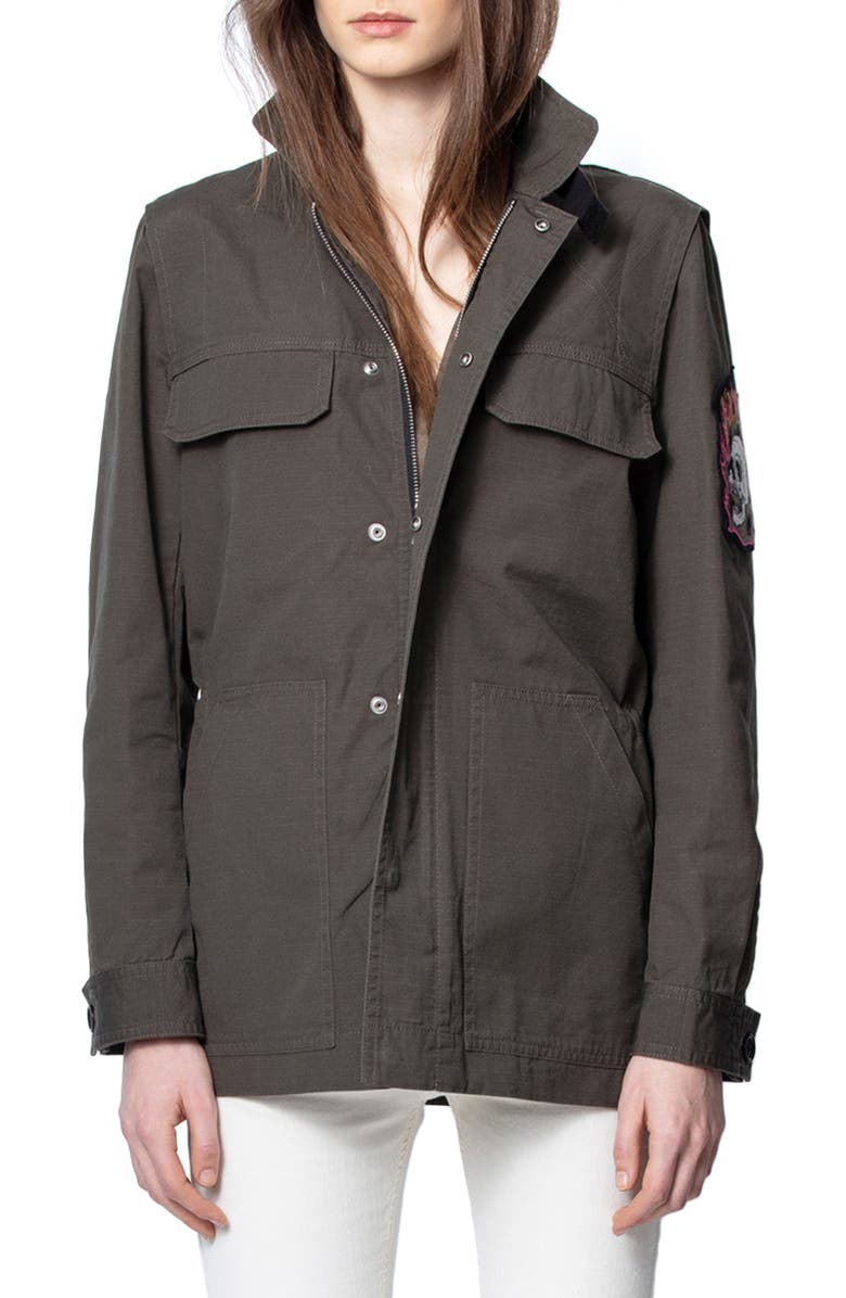 ZADIG & VOLTAIRE Kayaka Utility Jacket, Main, color, EBENE
