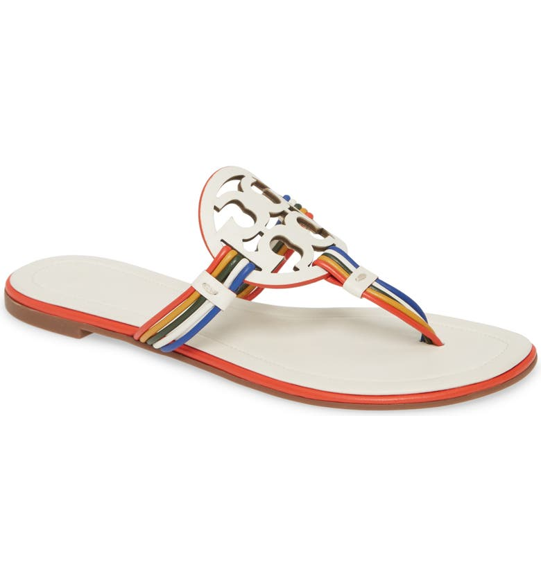 TORY BURCH Mignon Miller Logo Sandal, Main, color, NEW IVORY / MULTI