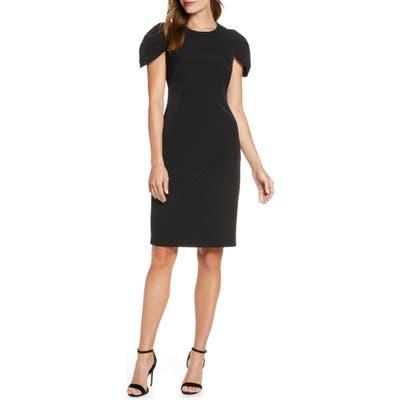Vince Camuto Pleat Cap Sleeve Crepe Sheath Dress, Black