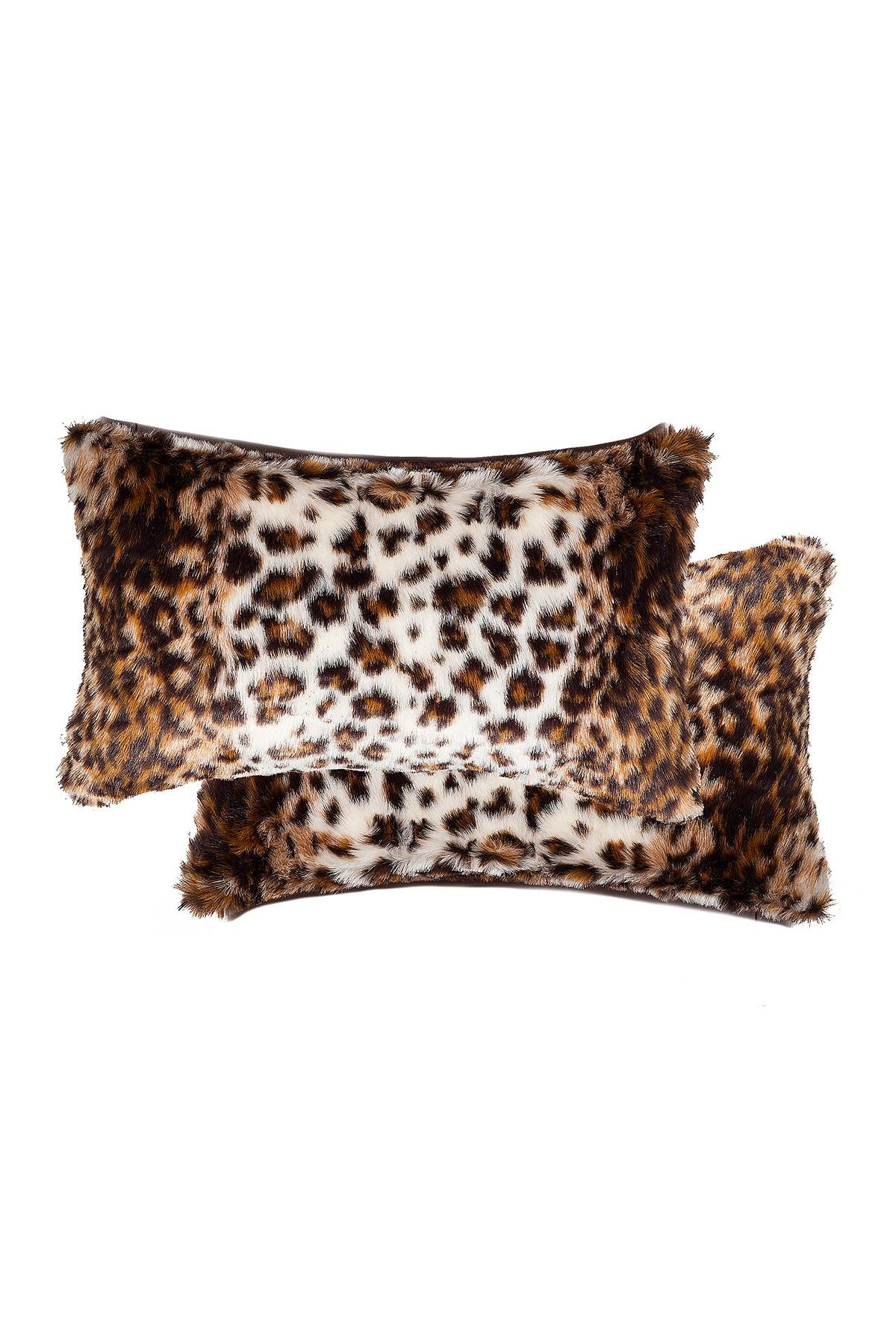 """Image of LUXE Belton Georgetown Lynx Faux Fur Pillows - Set of 2 - 12"""" x 20"""""""