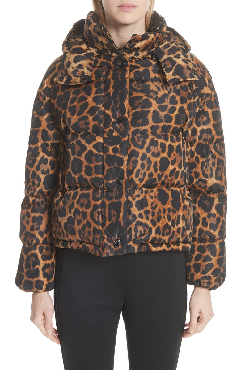 6a245fc6e Moncler Caille Leopard Print Down Puffer Jacket | Nordstrom
