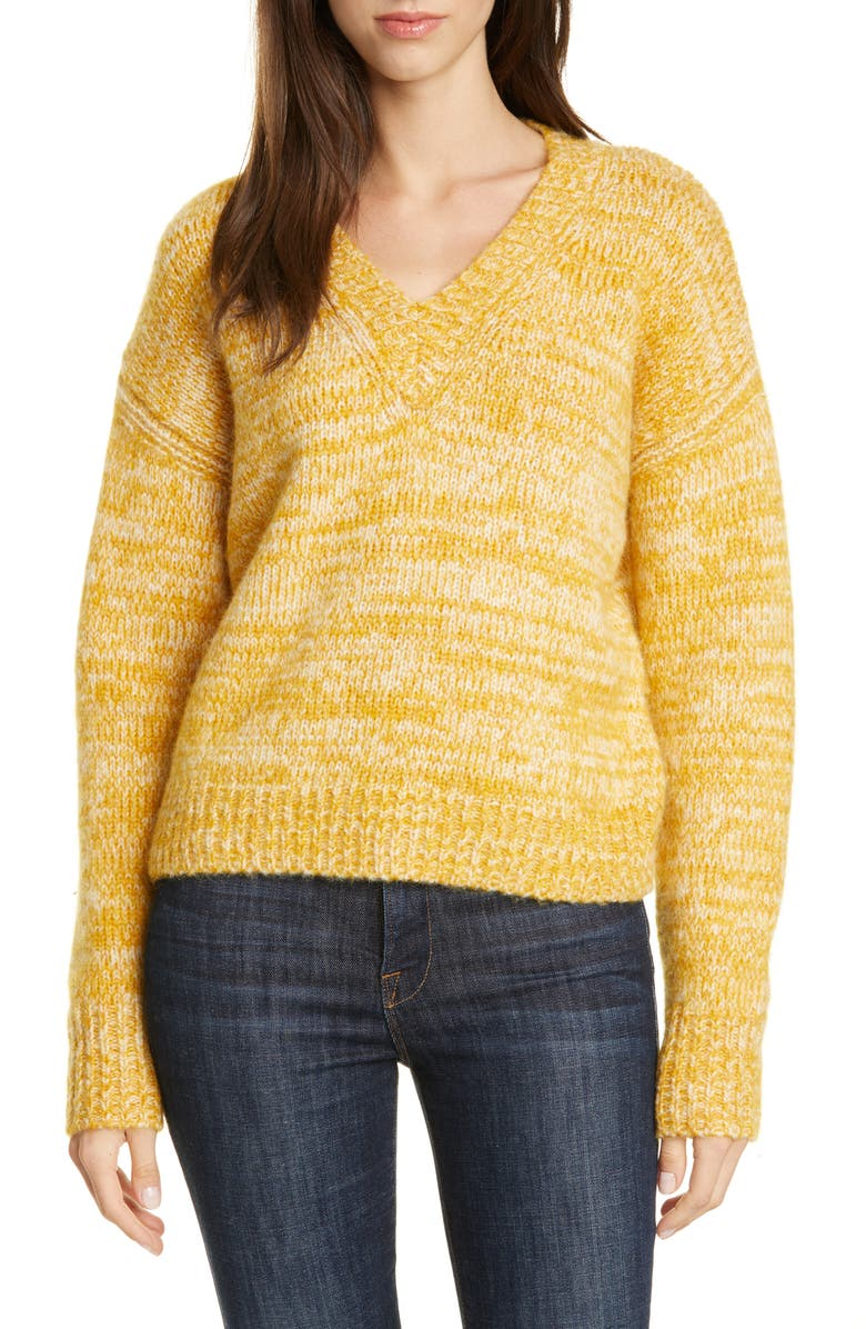 DVF Carmella V-Neck Wool Blend Sweater, Main, color, COUCH/IVORY