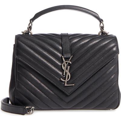 Saint Laurent Medium College Quilted Leather Shoulder Bag - Black