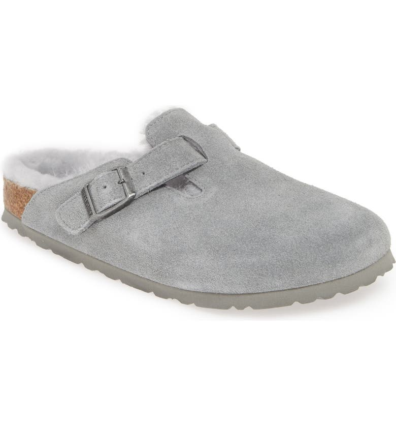 BIRKENSTOCK 'Boston' Genuine Shearling Lined Clog, Main, color, DOVE GREY SUEDE/ SHEARLING
