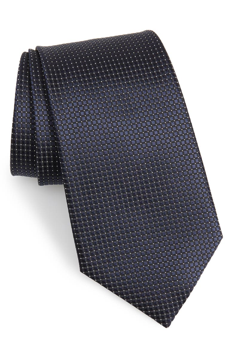 ERMENEGILDO ZEGNA Check Silk Tie, Main, color, NAVY