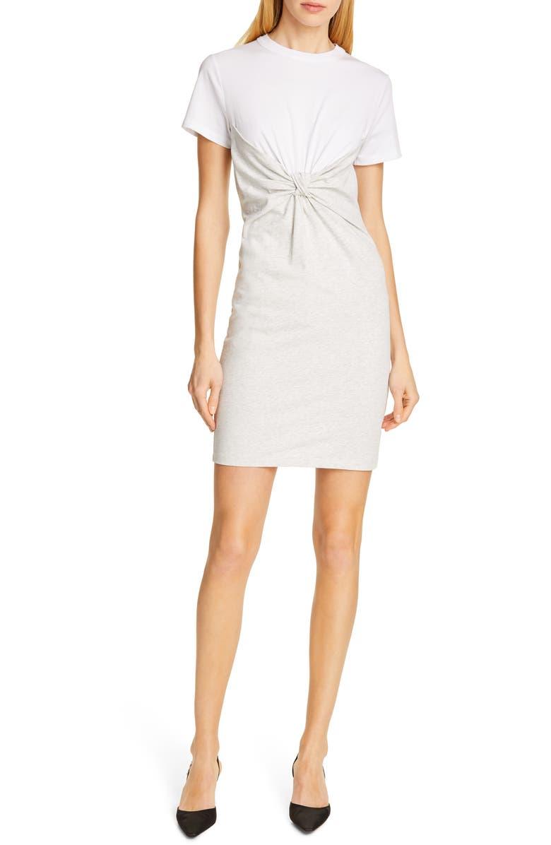 ALEXANDERWANG.T Knot Front High Twist Jersey Dress, Main, color, WHITE/ LIGHT HEATHER GREY