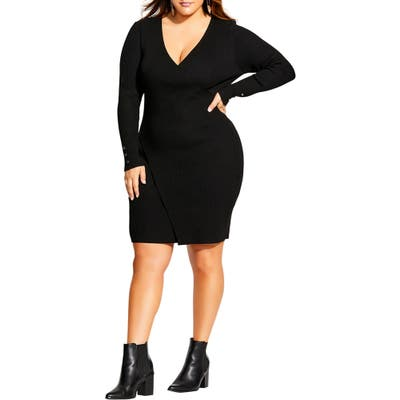 Plus Size City Chic V-Neck Sweater Dress, Black