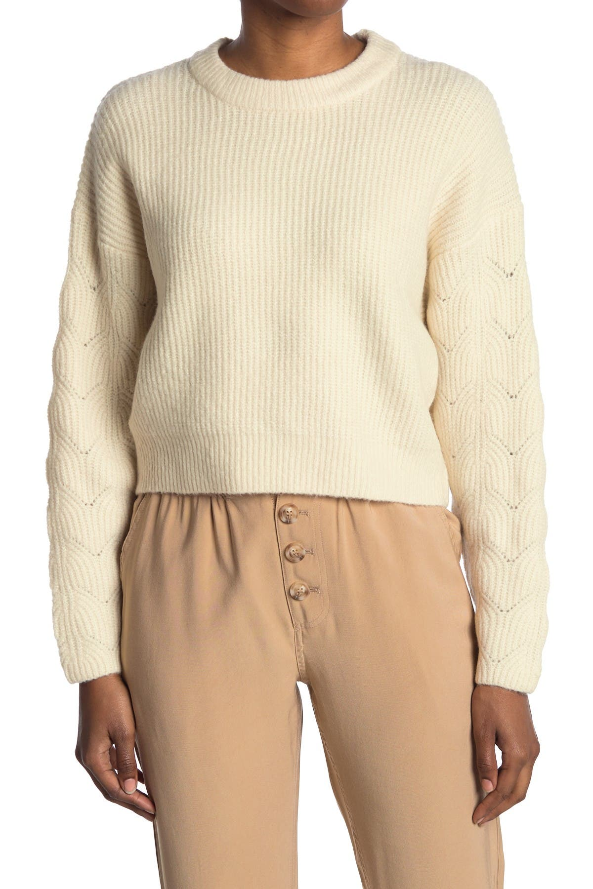 Image of Elodie Pointelle Sleeve Crew Neck Sweater