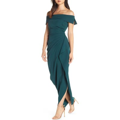 Vince Camuto Off The Shoulder Crepe Gown, Green