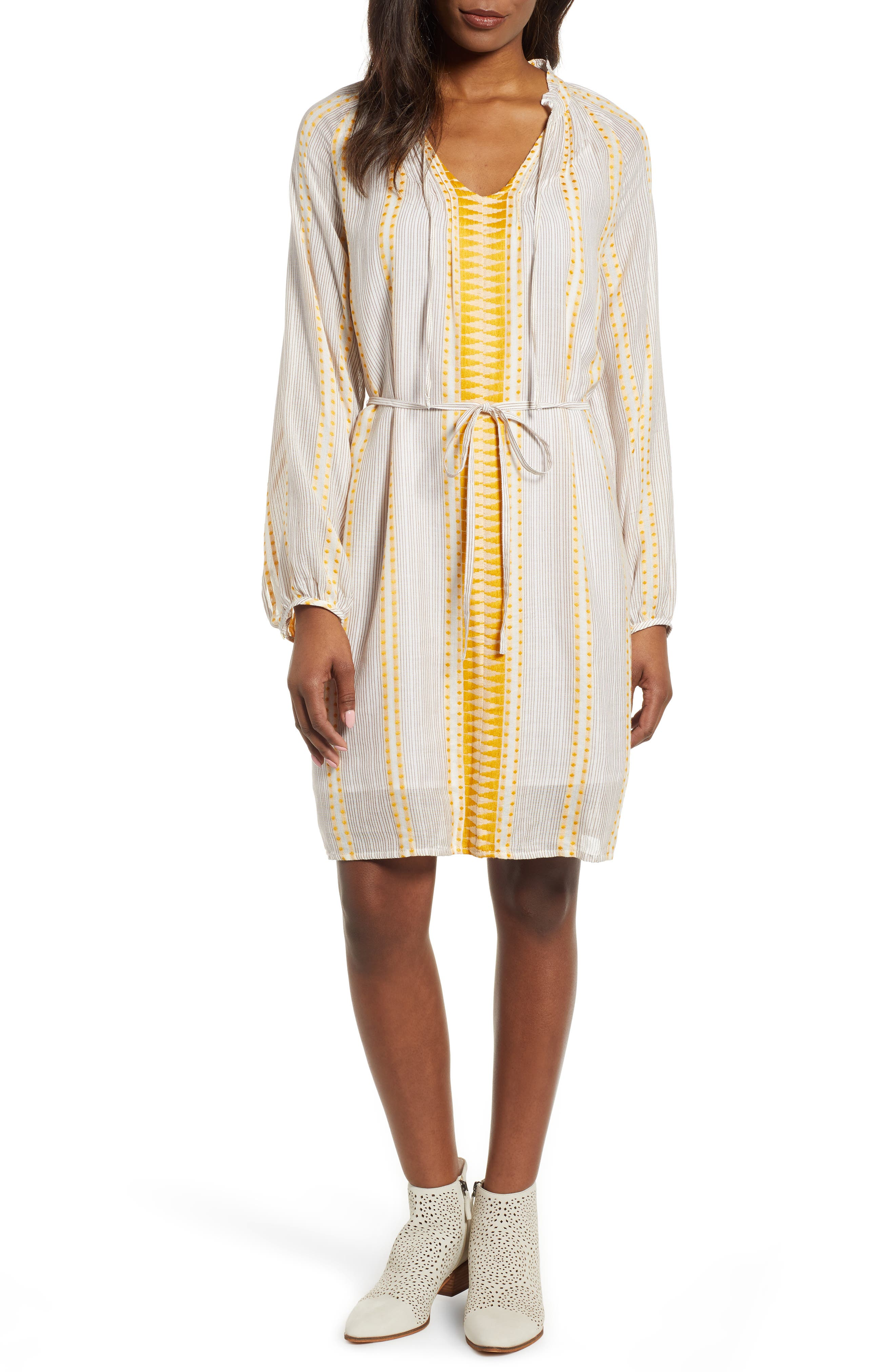 Lucky Brand Embroidery Detail Long Sleeve Cotton Blend Peasant Dress, Yellow