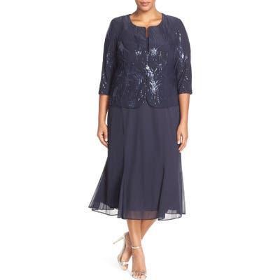Plus Size Alex Evenings Sequin Mock Two-Piece Dress With Jacket, Blue