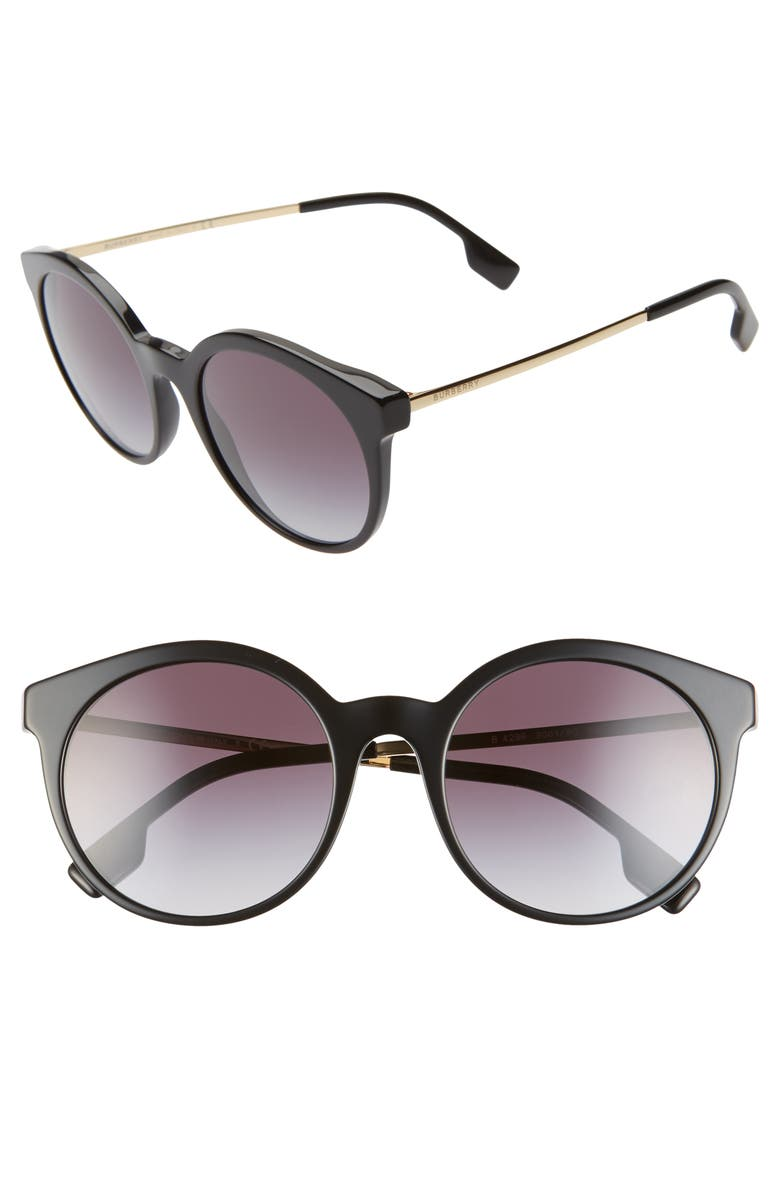 BURBERRY 53mm Round Sunglasses, Main, color, BLACK/ BLACK/ BLACK GRADIENT