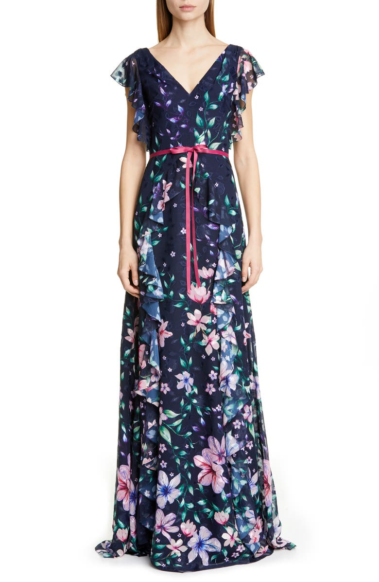 MARCHESA NOTTE Floral Jacquard Chiffon Gown, Main, color, NAVY