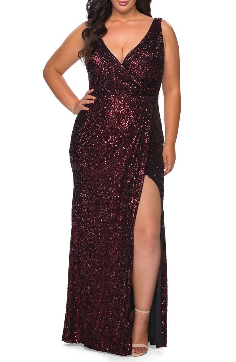 LA FEMME Sequin Faux Wrap Gown, Main, color, WINE