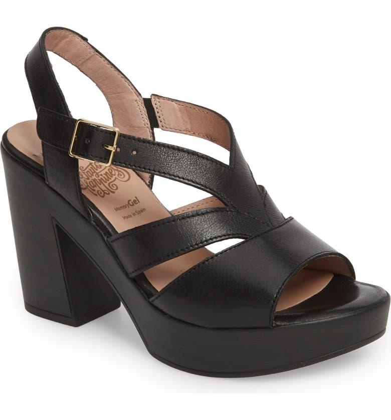 WONDERS V-Strap Platform Sandal, Main, color, BLACK LEATHER