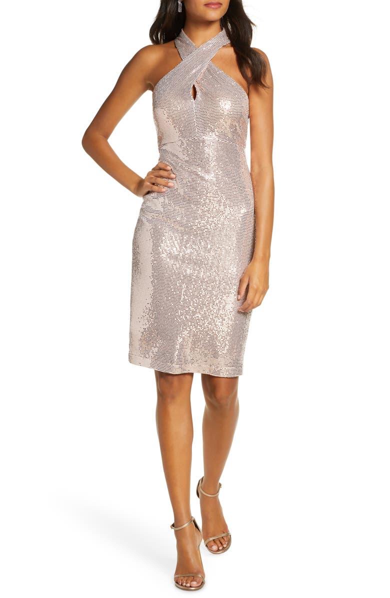 ELIZA J Sequin Cross Neck Body-Con Dress, Main, color, ROSE GOLD