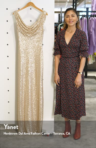 Cowl Neck Sequin Gown, sales video thumbnail