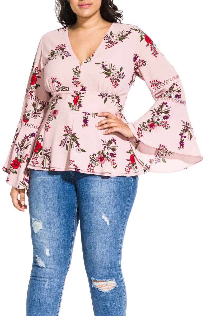 CITY CHIC Skye Floral Print Top, Main, color, 602