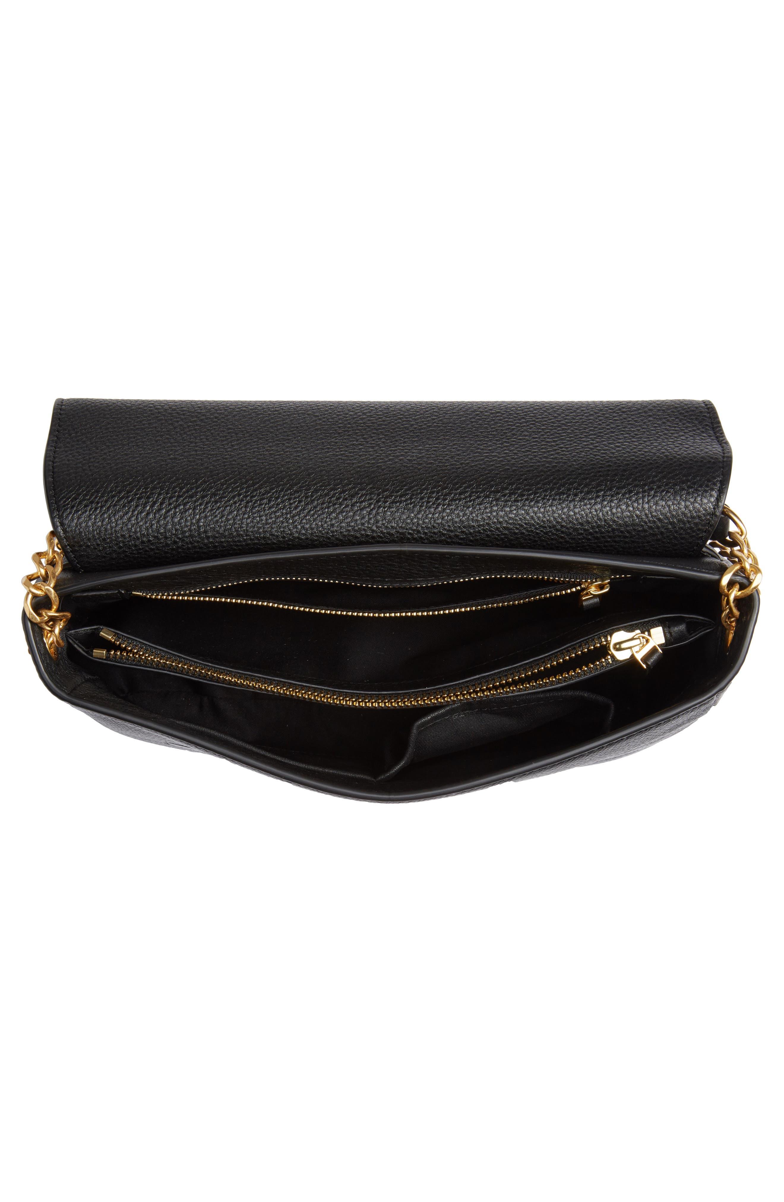 ,                             Chelsea Leather Shoulder Bag,                             Alternate thumbnail 6, color,                             BLACK