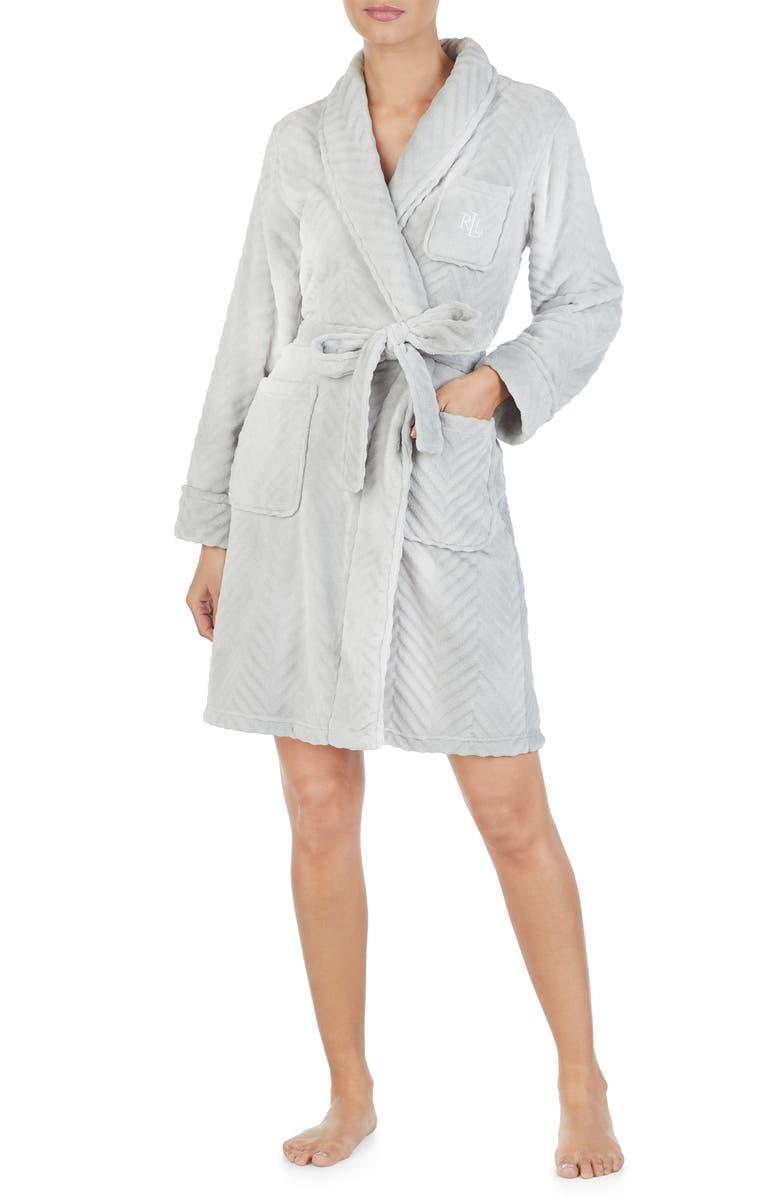LAUREN RALPH LAUREN Shawl Collar Fleece Short Robe, Main, color, GREY