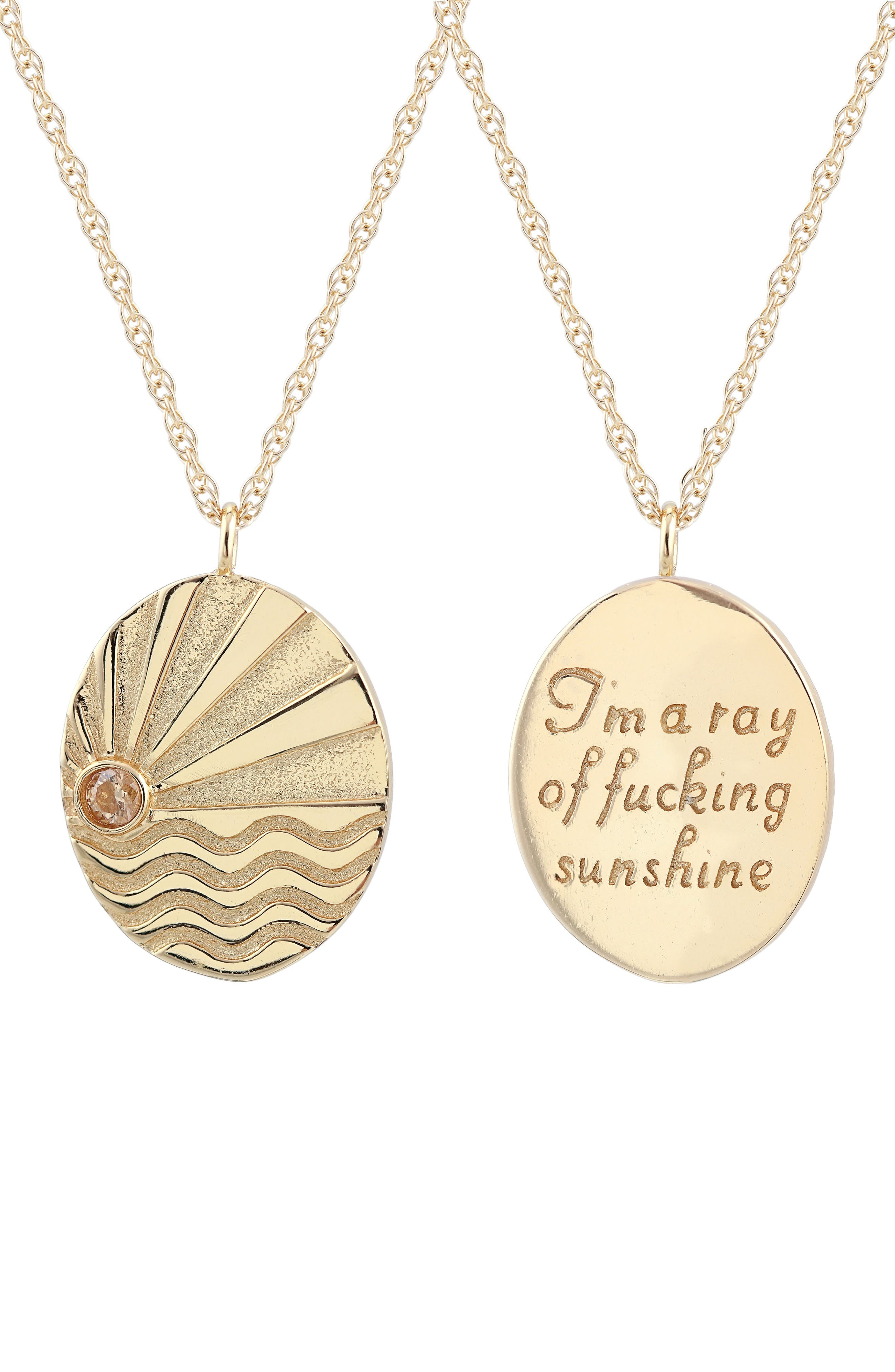 Kris Nations Ray of Sunshine Charm Necklace in 18K Gold Vermeil at Nordstrom