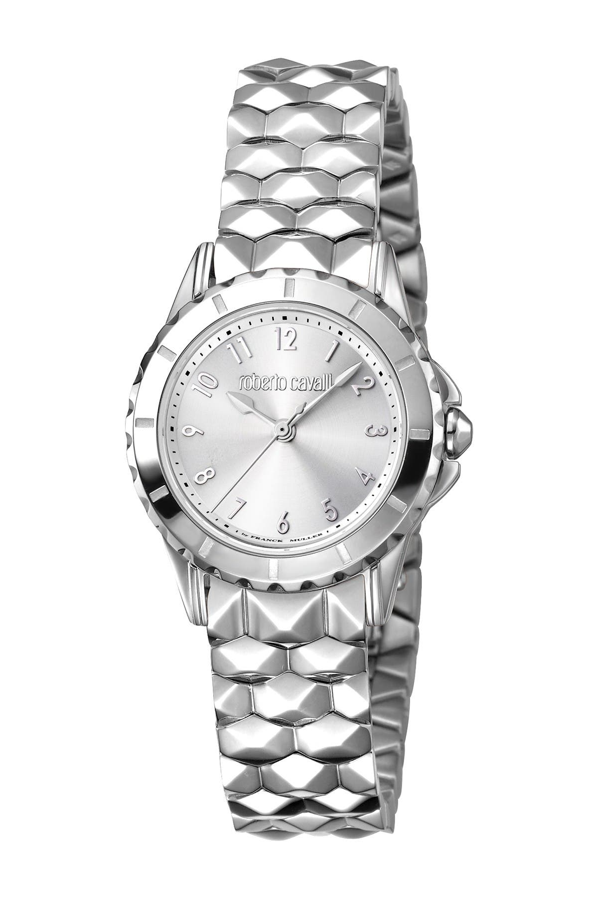 Image of Roberto Cavalli Women's Silver Dial Stainless Steel Bracelet Watch, 28mm