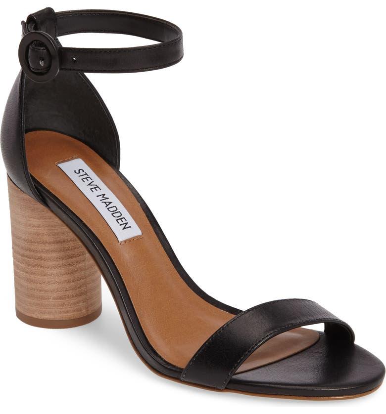 STEVE MADDEN Sara Column Heel Sandal, Main, color, 001