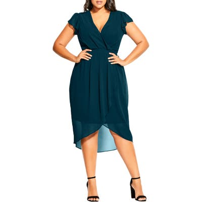 Plus Size City Chic Wrap Front Short Sleeve Chiffon Dress, Green