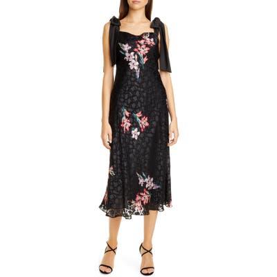 Rebecca Taylor Noha Floral Print Tie Shoulder Midi Dress, Black